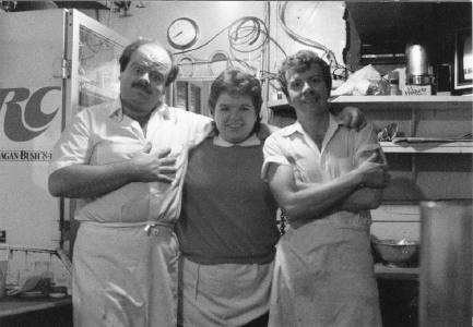 Clowning around in the old kitchen is  Pete, our sister Margie and Bob back in 1985.