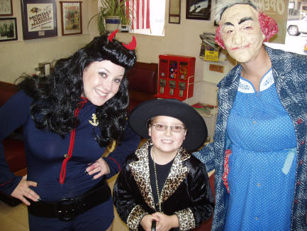 Connor finally gets some girls. Betty Page (Kacie) and the scary old lady (Sara)!