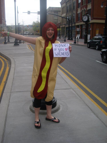 Ashley helps with wiener sales!